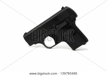 Old BB gun isolated on white construction, yellow, measurement, work, long, tool,
