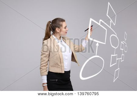 Woman drawing flowchart, business process concept