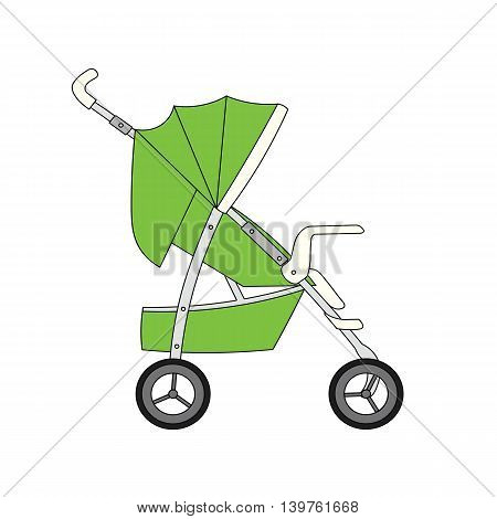 Green cartoon children's stroller for baby boy or girl.