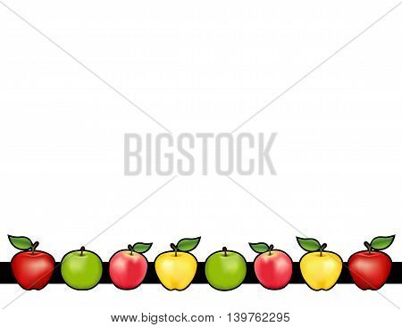 Apple bar place mat with red and golden Delicious, green Granny Smith and Pink apple fruits, white background with copy space.