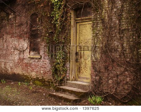 Yellow Door In Ruins