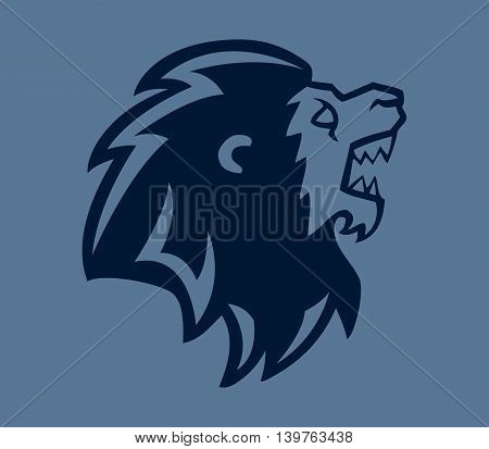 A vector illustration of lion head silhouette