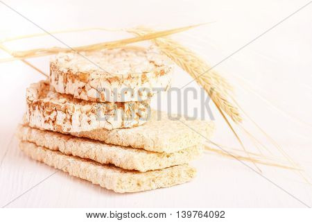 Dietary, a low caloric grain crackers on a white background