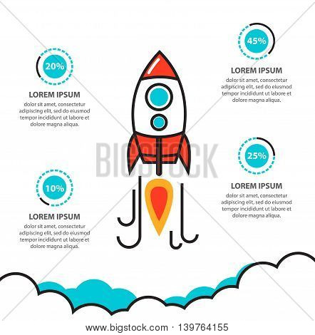 Flat thin line illustration concept of business project startup infographic with rocket. Template for cycle diagram graph presentation and round chart. Data options parts steps or processes