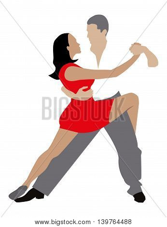 man and woman dancing passionate dance. vector drawing
