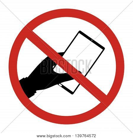 No smartphone allow to use restrict sign isolated on white background. Vector illustration prohibited circle design.