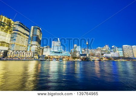 Skyline in Darling Harbour of Sydney at night