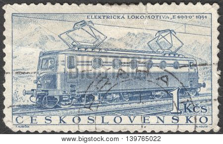 MOSCOW RUSSIA - JANUARY 2016: a post stamp printed in CZECHOSLOVAKIA shows the 'E499.0' Locomotive of 1954 the series