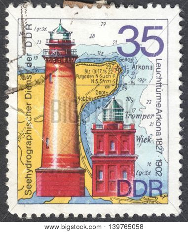 MOSCOW RUSSIA - JANUARY 2016: a post stamp printed in DDR showsthe the Cape Arkona lighthouse the series
