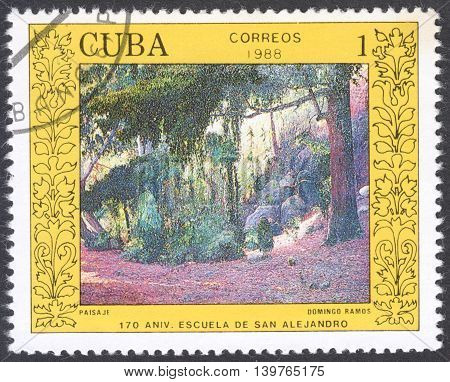 MOSCOW RUSSIA - CIRCA FEBRUARY 2016: a post stamp printed in CUBA shows