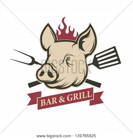 Bar and grill. Pig head with kitchen tools isolated on white background. Design element for restaurant menu poster. Barbecue invitation card. Vector illustration.