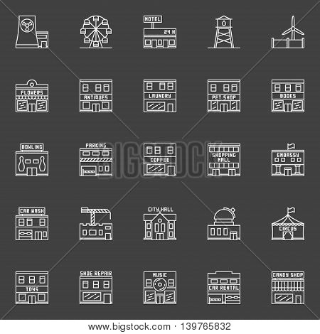 Buildings and constructions icons. Vector outline set of city places symbols. Building signs collection on dark background