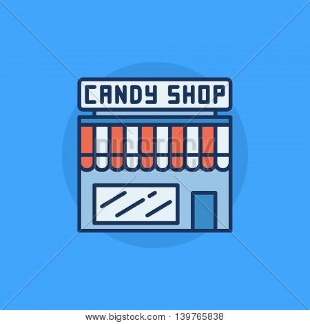 Candy shop flat icon - vector colorful sweets shop symbol or sign on blue background