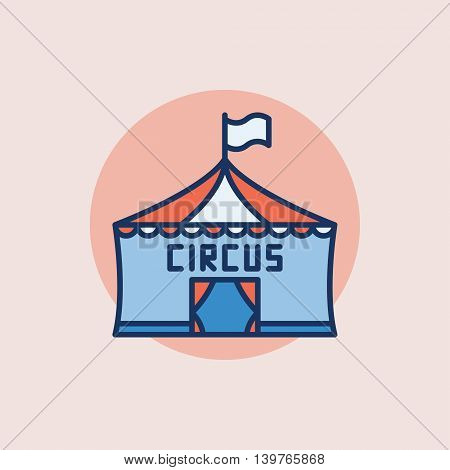 Circus flat icon - vector circus tent symbol or sign on pink background