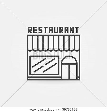 Restaurant linear building icon. Vector minimal thin line restaurant symbol or logo element