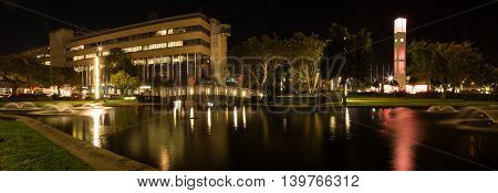Pond in the center of Palmerston North City at night.