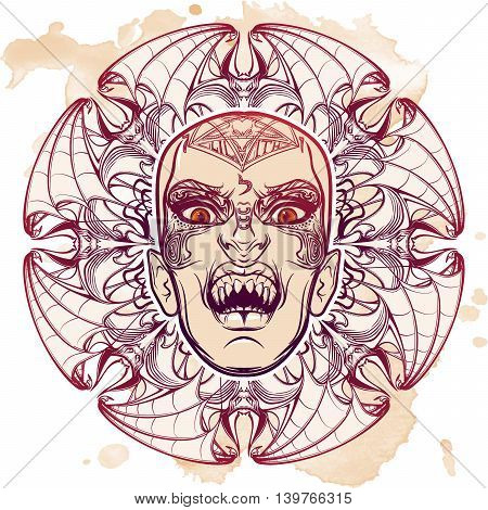Hand drawn sketchy artwork of scary aspect of Lilith Babylonian demon of night. Halloween concept. Alchemy, religion, spirituality, occultism, tattoo art. EPS10 vector illustration.