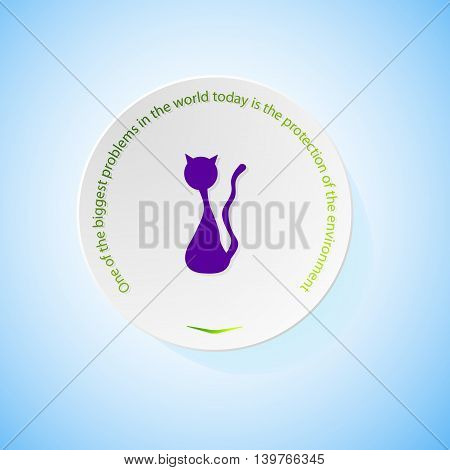 Environmental icons depicting cat with shadow, abstract vector illustration