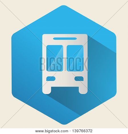 Vector bus icon on a blue background, Flat design.