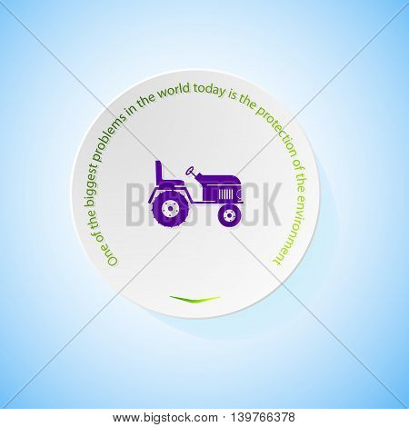 Environmental icons depicting tractor with shadow, abstract vector illustration