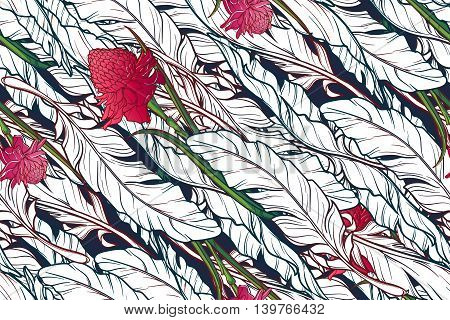 White banana plant leavs and etligeria flower on a dark blue background. Tropical jungle. Seamless pattern with Irregular distribution of elements. Diagonal rythm. EPS10 vector illustration.