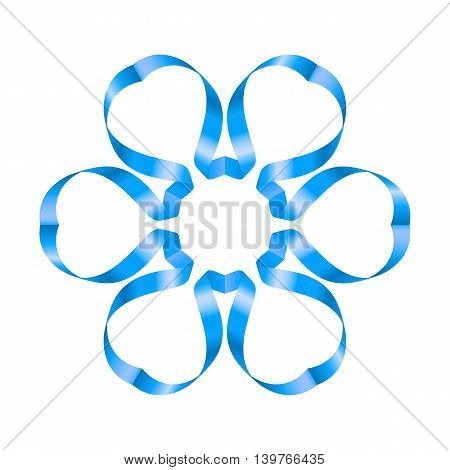 Ornate blue ribbon with a flower on a white background