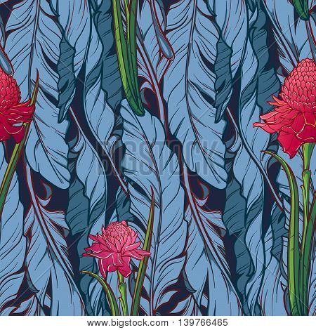 Banana plant leavs and etligeria flower on a dark blue background. Tropical jungle. Seamless pattern with Irregular distribution of elements. Vertical rythm. EPS10 vector illustration.