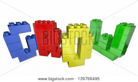 Grow Increase Improve Toy Blocks Word 3d Illustration