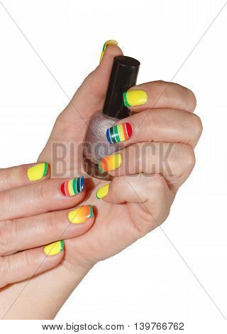 Multicolored Manicure And Nail Polish