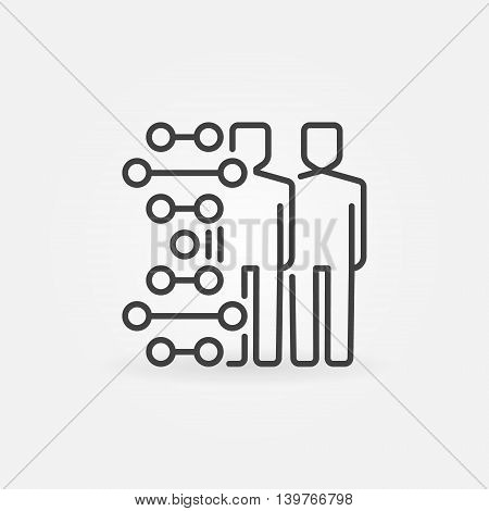 Human cloning icon. Vector minimal clone or cloning symbol in thin line style. Human with DNA concept sign