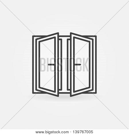 Wide open window icon. Vector outline concept window symbol or logo element