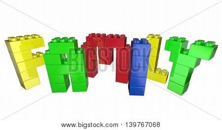 Family Toy Blocks Letters Word 3d Illustration