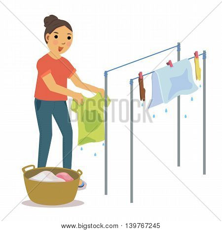 Woman drying the clothes on clothesline on white background.