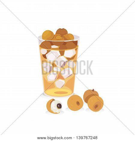 Vector of longan juice in a glasses and fresh longan.