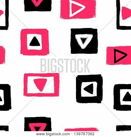 Abstract seamless pattern with grunge rectangles and triangles. Vector illustration. Pink and black wallpaper on white background