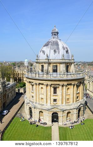 OXFORD ENGLAND 20 April 2015: Radcliffe camera from Church Tower