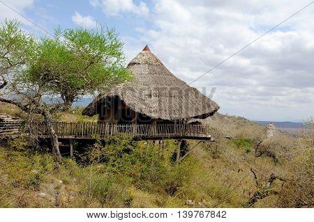 Wooden house on hill National park of Kenya