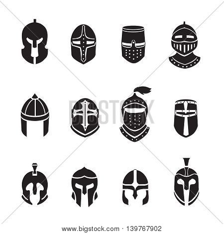 Warrior helmets black icons or logos set. Soldier armor, ancient military, vector illustration