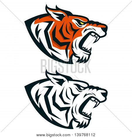 Tiger mascot. Head of angry tiger isolated on white background. Design element for logo label emblem sign. Vector illustration.