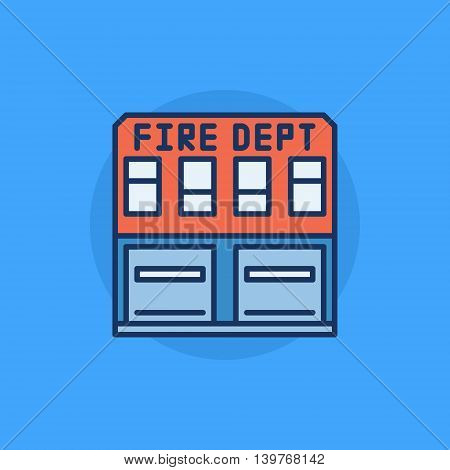 Fire department building flat icon - vector colorful fire station building symbol or logo element