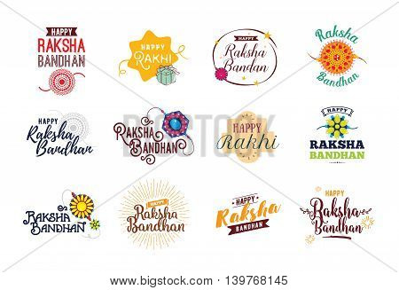 Happy Raksha Bandhan. Indian holiday. Vector typographic emblems, logo or badges. Usable for greeting cards, banners, print, t-shirts, posters and banners. Happy Rakhi.