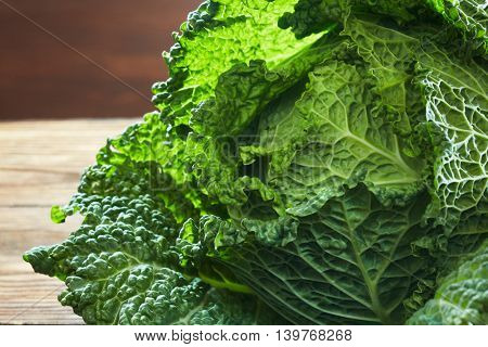 Savoy cabbage super food close up