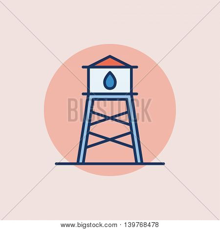 Water tower flat icon - vector colored symbol or sign on pink background