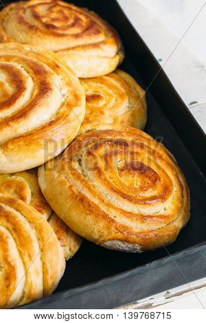 Сinnamon and raisin roll bun,still life style