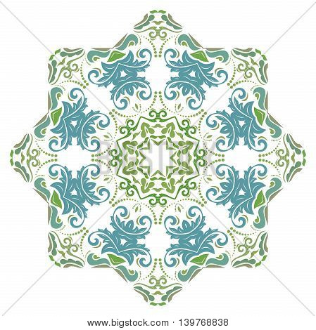 Oriental vector round colorful pattern with arabesques and floral elements. Traditional classic ornament
