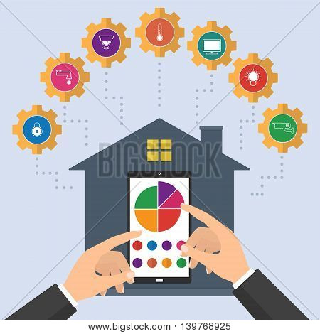 Businessman hand pointing to smartphone for control of home device concept of smart house technology system with centralized control. Vector illustration smart home on internet of thing technology trend.