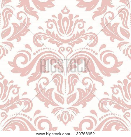 Seamless damask vector pattern. Traditional classic orient ornament. Light pink pattern