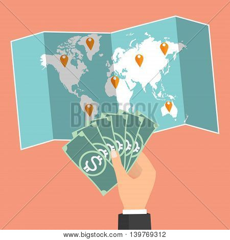 Businessman hand holding banknote on wold map background and select country for currency exchange. Vector concept design of business world money exchange.