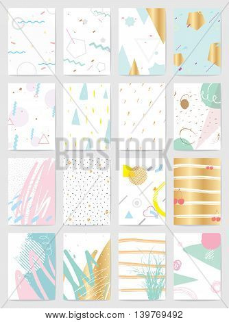 Creative cards with abstract geometric backgrounds. Trendy hipster style. Pastel pink, mint, gold colors. Usable for greeting cards, invitations, poster, flyer, brochure, sticker, planner or cover