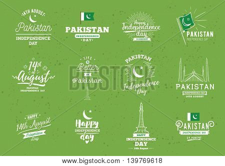 Pakistan Independence day, 14th august. Vector typographic emblems, logo or badges. Usable for greeting cards, print, t-shirts, posters and banners.